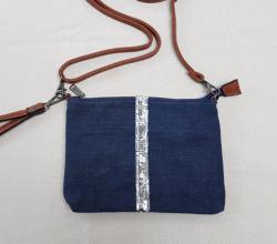 Sac bandoulière lin coton et détail paillettes