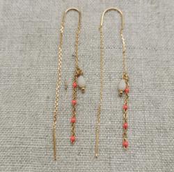 Boucle d'oreilles longues chaînes perlées (4 couleurs au choix) plaqué Or