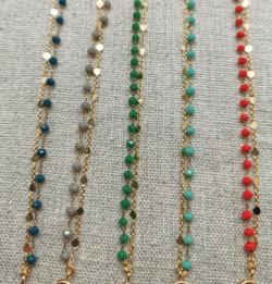 Bracelet chaîne double en plaqué Or