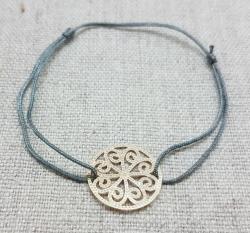 Bracelet arabesque perlée sur lien coton (3 couleurs au choix) en plaqué Or