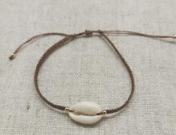 Bracelet coquillage, lien irisé (3 couleurs au choix)