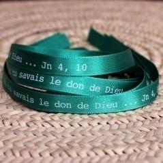 Bracelet vert Si tu savais le don de Dieu ... Jn 4,10.