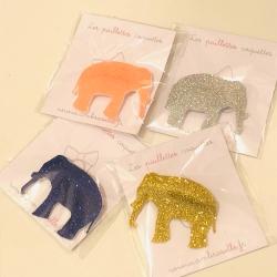 Broches paillettes éléphant