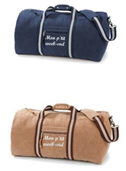 sac de voyage en toile épaisse, beige ou bleu marine, brodé en blanc cassé « mon ptit week-end » 58x30x30 - 45 litres
