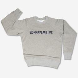 Sweat Adulte coton bio Gris chiné Logo Bonnefamilles