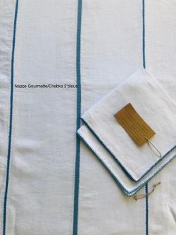 Nappe 170*300 3 bandes lin blanc Chebka/Gourmette, Bordure Ders 2. Bleu MER