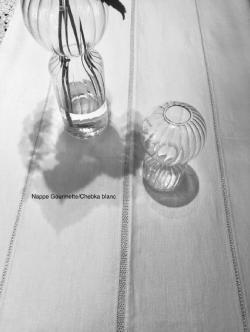 Nappe 170*300  3 bandes lin blanc Chebka/Gourmette, Ders 2. Blanc