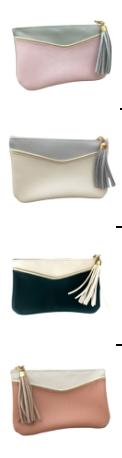 Porte monnaie Elliott, rose / gris perle, crème / gris, perle vert/crème, praline/crème