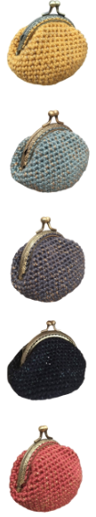 Porte-monnaie Pétronille, jaune safran lurex, bleu argent lurex, gris bleu lurex, marine lurex, rosewood lurex