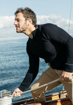 Pull Marin côtes anglaises laine mérinos navy