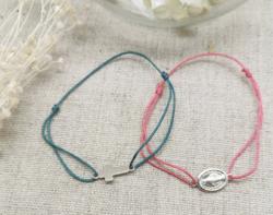 Bracelet lien coton et breloque Argent