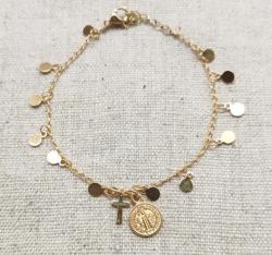 bracelet chaîne pastilles médaille plaqué Or