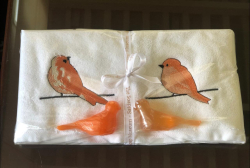 Lot de 2 serviettes eponge (33x33) et savon saumon