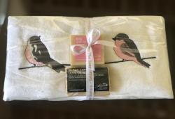 Lot de 2 serviettes (33x33) éponge et savon Rose et Gris
