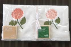 Lot de 2 serviettes éponge (33x33)+ 2 savons parfumés Hortensia pêche