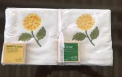 Lot de 2 serviettes éponge (33x33) et 2 savons parfumés Hortensia jaune
