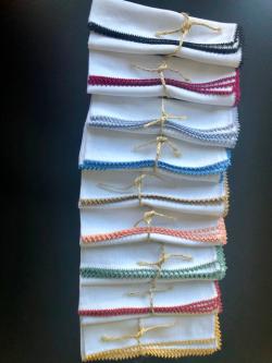Serviettes de table en lin blanc