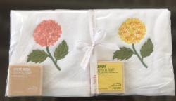 Lot de 2 serviettes éponge (33x33) et de 2 savons parfumés hortensia pêche et jaune
