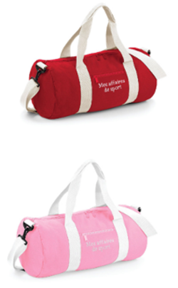 sac de sport rouge ou rose, brodé « Mes affaires de sport »